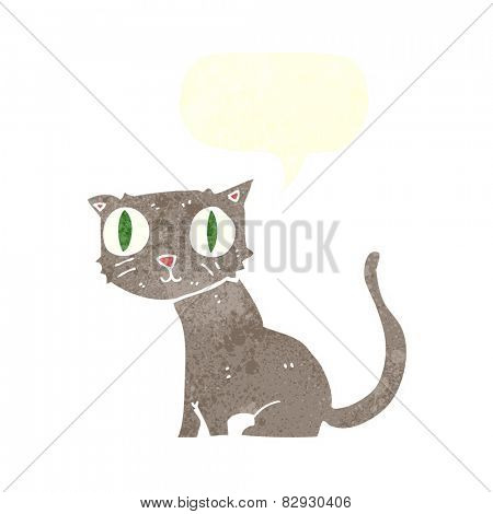 cartoon cat with speech bubble