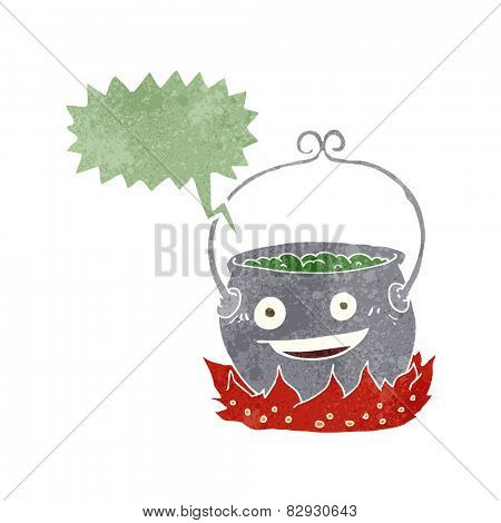 cartoon witch's cauldron with speech bubble