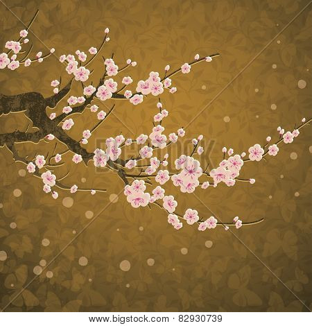 vector branch of cherry blossom over golden background