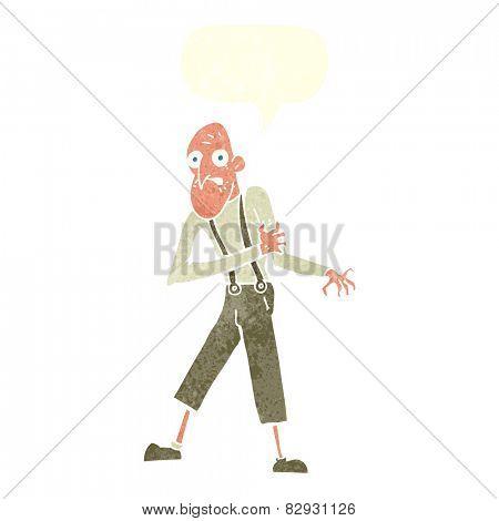 cartoon old man having heart attack with speech bubble