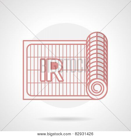 Red vector icon for IR underfloor heating