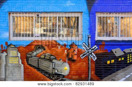 Street art Montreal train