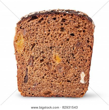 Piece Unleavened Of Black Bread With Nuts And Dried Fruit