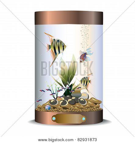 Cylindric bronze aquarium