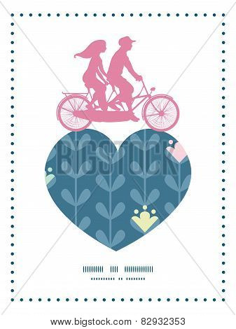 Vector blloming vines stripes couple on tandem bicycle heart silhouette frame pattern greeting card