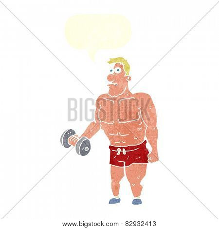 cartoon man lifting weights with speech bubble