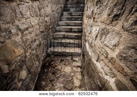 View Of Ancient Stone Stairway At Castle
