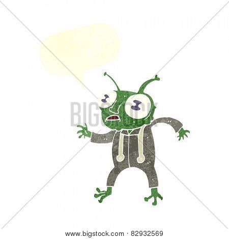 cartoon alien spaceman with speech bubble