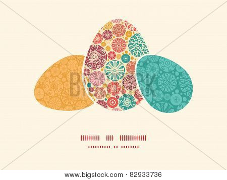Vector abstract decorative circles three matching Easter egg sillhouettes frame card template