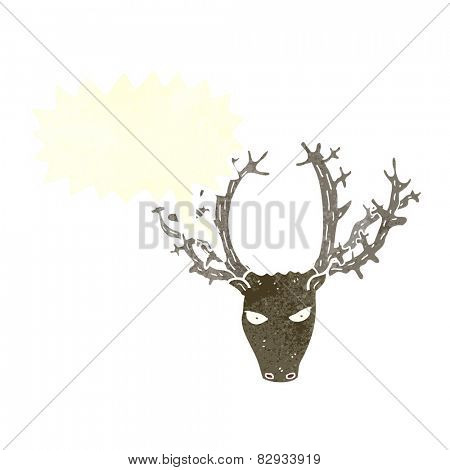 cartoon stag head with speech bubble
