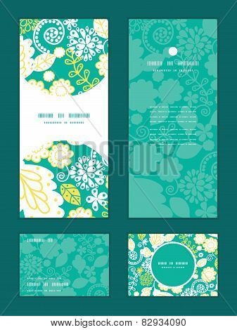 Vector emerald flowerals vertical frame pattern invitation greeting, RSVP and thank you cards set