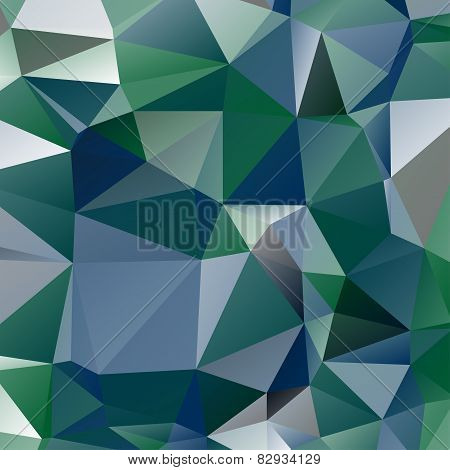 abstract stained glass in green, blue and grey