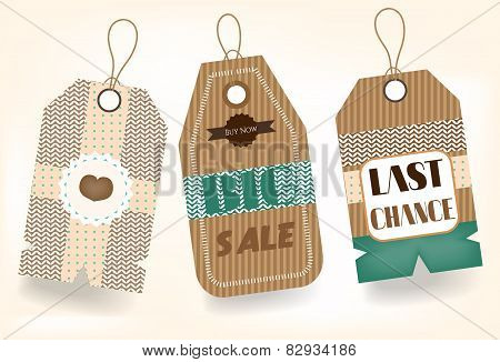 Three, romantic, isolated stickers with text Big Sale, Last Chance