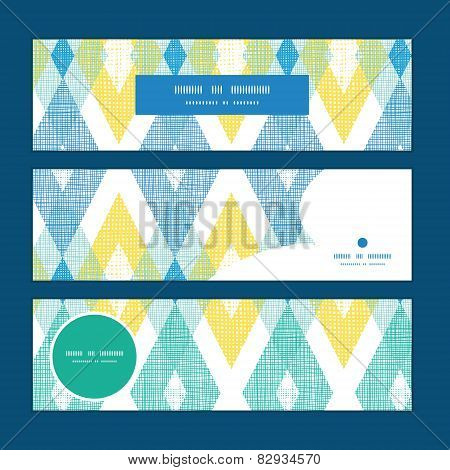 Vector colorful fabric ikat diamond horizontal banners set pattern background