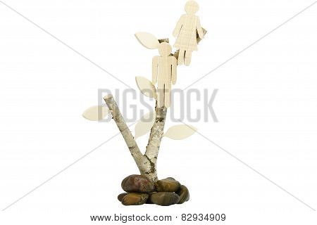 Birch with wooden couple