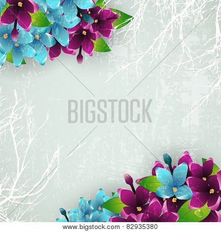 Vintage Background With Lilac Flowers