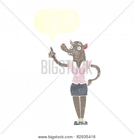 cartoon werewolf woman with idea with speech bubble