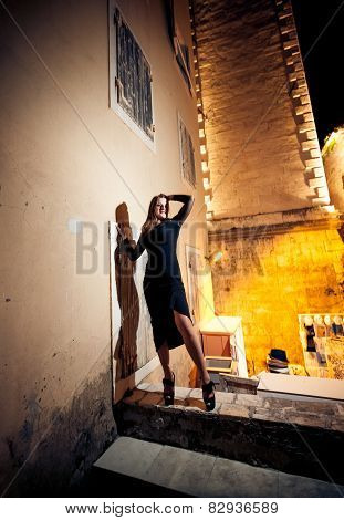 Slim Woman In Black Dress Posing On Street At Night