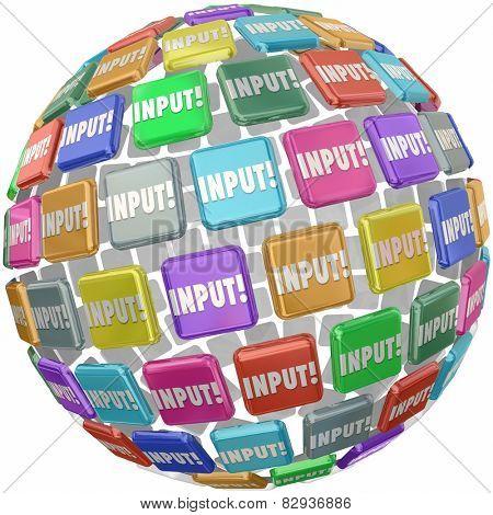 Input word on tiles in a globe, sphere or ball to illustrate comments, information, reviews and ideas submitted by workers, employees, or customers