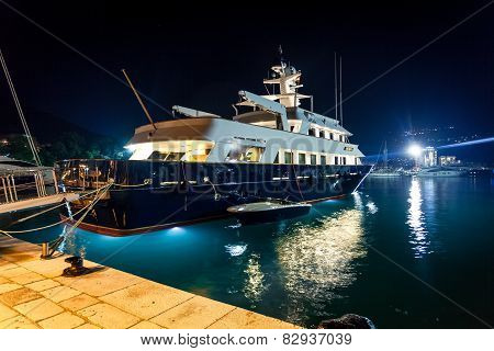 Luxurious Private Yacht Moored At Night Port