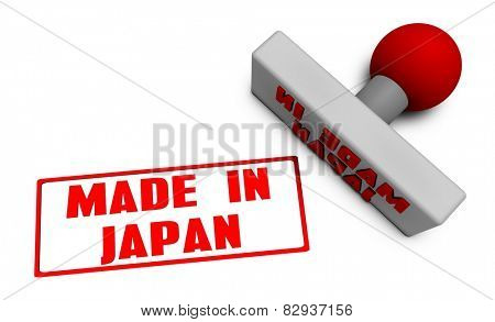 Made in Japan Stamp or Chop on Paper Concept in 3d