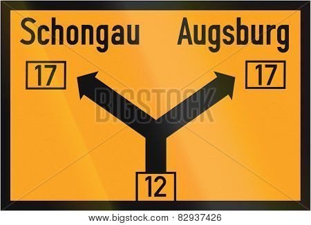 Direction Sign To Schongau And Augsburg 1937