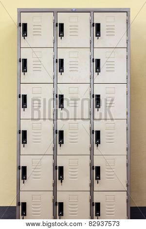 Lockers Cabinets In A Locker Room.
