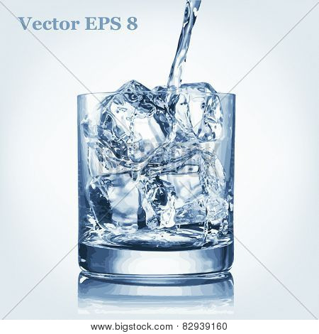 Pouring water and glass with ice, vector EPS 8