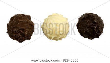 Brown, white and dark chocolate truffles