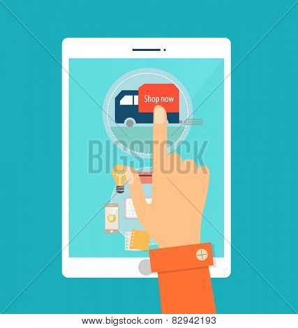 Business concept. Online shopping. Infographics background E-commerce.