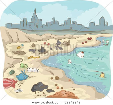 Illustration of a Polluted Shore Littered With All Sorts of Trash