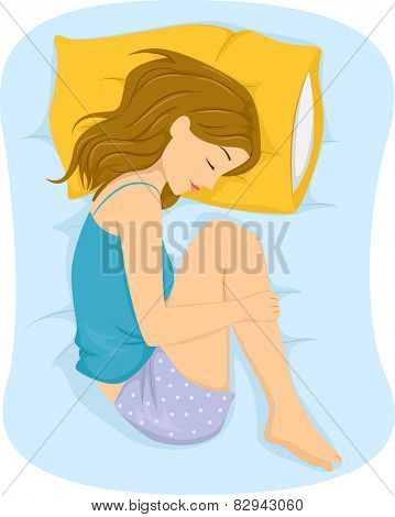 Illustration of a Girl Sleeping in the Fetal Position