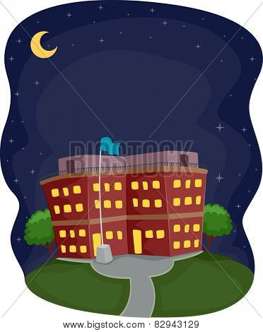 Illustration of a School Building Operating at Night