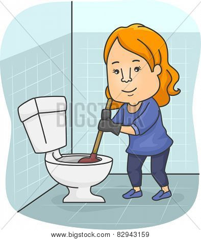 Illustration of a Girl Using a Plunger to Unclog a Toilet Bowl