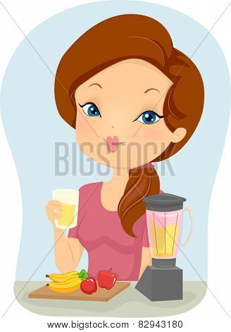 Illustration of a Girl Making a Banana and Apple Smoothie