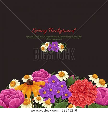 Floral card with red roses, small blue flowers and leaves on black background