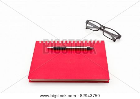 Red Diary Book On White Background.