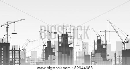 A Construction Site with Lots of Tower Cranes. Vector EPS 10