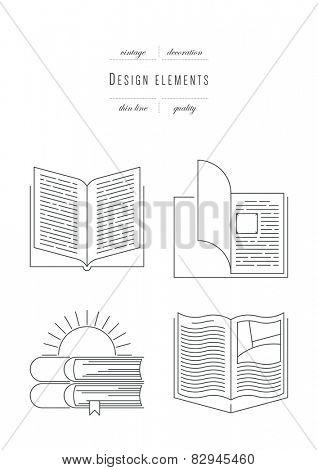 Vintage set - design elements - books, thin line ( variable line width )