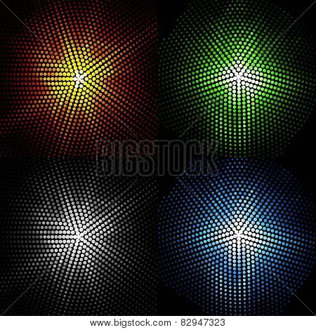 set of four coloured flashes on a black background