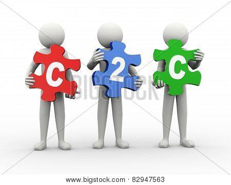 3D Man Puzzle Piece - C2C