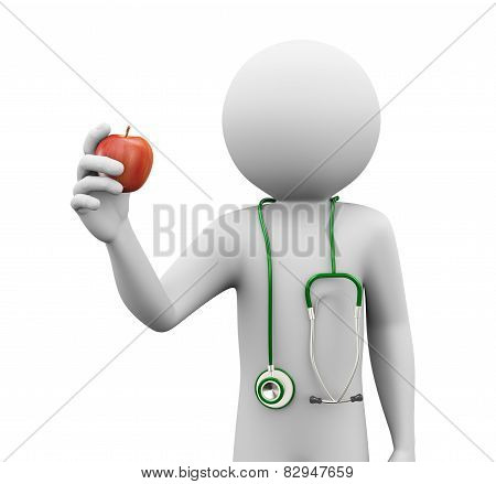 3D Doctor Holding An Apple
