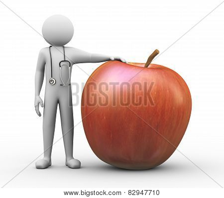 3D Doctor And Large Red Apple