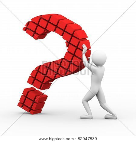 3D Man Block Question Mark Illustration