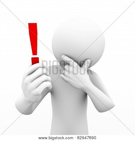 3D Man Holding And Looking At Exclamation Mark