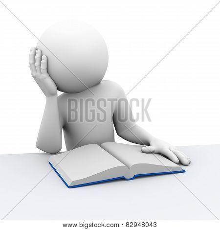 3D Bored Person Reading Book