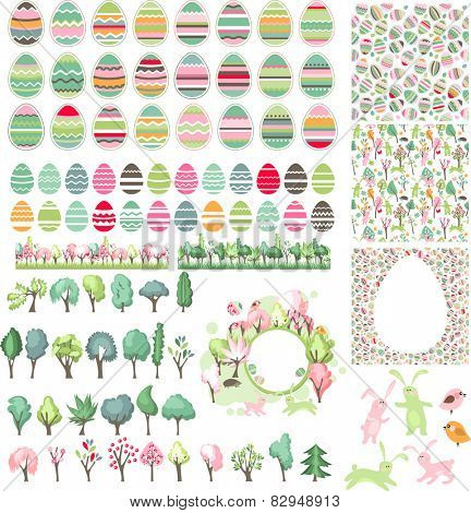 Big easter set with collection of eggs,seamless patterns, trees and rabbits