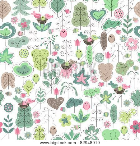 Seamless spring pattern with stylized trees