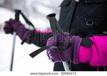 Little Girl In Gloves Holding Ski Sticks