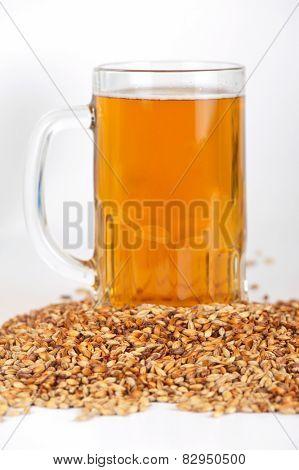 beer glass at malt grains on white background